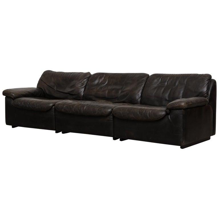 De Sede Black Leather Three-Seat Sofa
