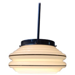 Danish Opaline Glass Architectural Funkis Pendant Lamp from Lyfa, 1930s
