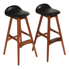 Pair of Erik Buch Bar Stools Teak, Rosewood, and Black Leather