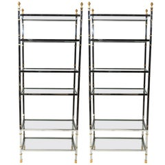 Pair of Tall Maison Jansen Style Polished Chrome and Brass Etageres