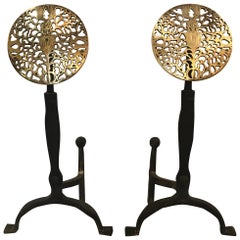 Pair of Hand-Forged Iron and Brass Andirons