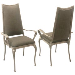 Set of Four Polished Raw Cast Aluminum Tall Back Chairs Upholstered Back & Seat
