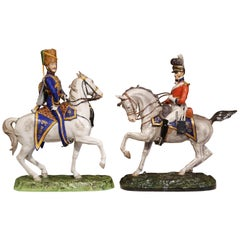 Pair of Mid-20th Century English Majolica Painted Riders on Horses Sculptures
