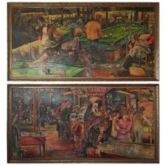 Pair of Midcentury Oil on Boards by Les Dykes of Pool Hall and Arcade