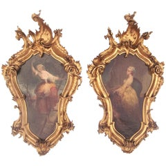Pair of Allegorical Italian Oils in Carved Giltwood Frames