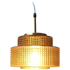 Danish Modern Glass and Brass Ceiling Lamp from Vitrika, 1960s