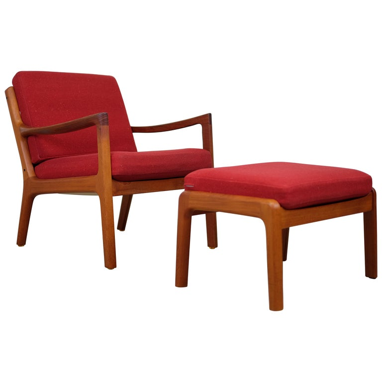 Senator Lounge Chair and Ottoman by Ole Wanscher for Cado