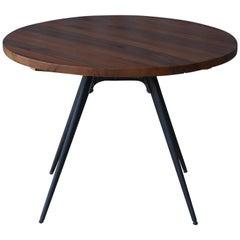 1950s Solid Teak Side Table on Metal Base