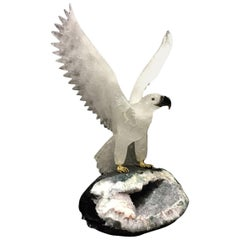 Hand-Carved Rock Crystal Eagle