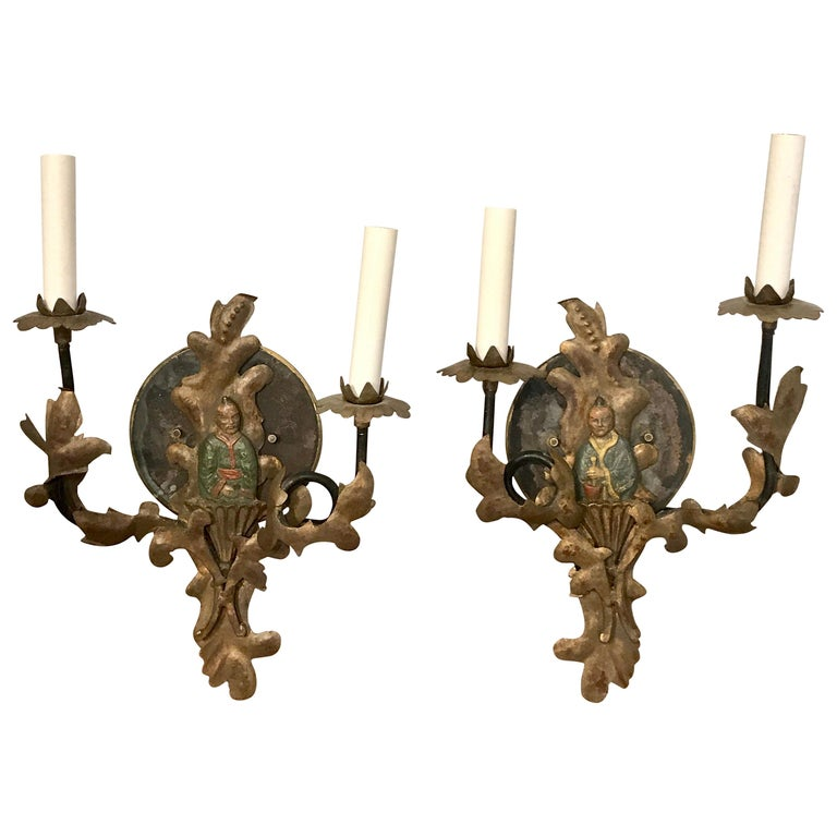 Pair of 19th Century Chinoiserie Polychromed Tole Sconces, Now Electrified
