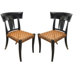 Luca Schacchetti Oak Design Edizoni Italy Lacquered Chairs with Woven Leather