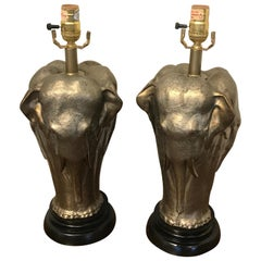 Pair of Elephant Motif Lamps by Chapman