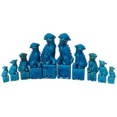 Ten Graduating Turquoise Chinese Export Foo Dogs