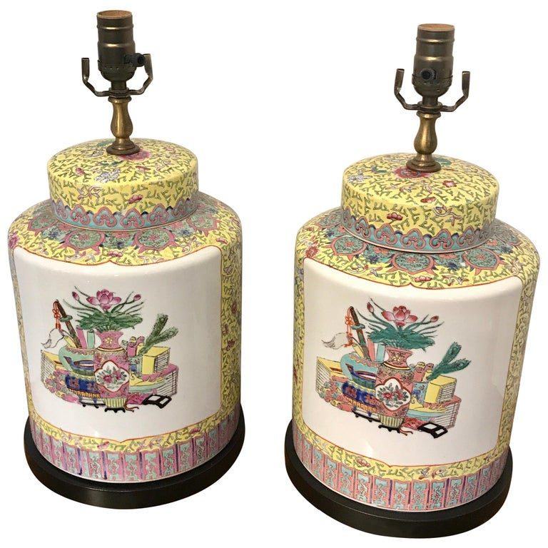 Pair of Republic Chinese Export Yellow Famille Verte Lamps