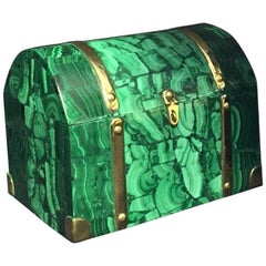 Malachite Veneered and Brass Domed Box