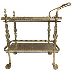 French Two-Tier Brass Bar Cart with Decorative Etched Glass