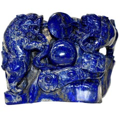Natural Lapis Lazuli 8 lb Block with Carved Lions