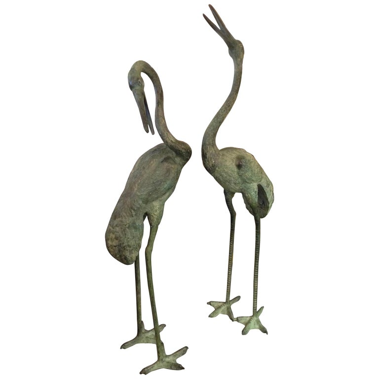 Pair of Lifesize Bronze Figures of Cranes