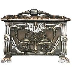 Austria/France Art Nouveau Silvered Heavy Bronze Jewelry Box Casket, circa 1900