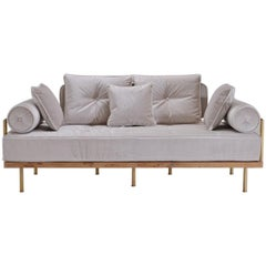 Bespoke Two-Seat Sofa with Brass and Reclaimed Hardwood Frame by P. Tendercool