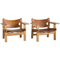 Børge Mogensen Pair of Spanish Chairs for Fredericia Furniture