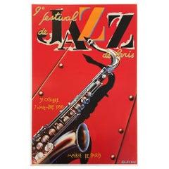 Original Vintage Poster Festival de Jazz 1988 French Lithograph for Jazz