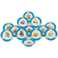 Set of 12 Sèvres Style Dessert Plates, Early 19th Century Hand-Painted Porcelain