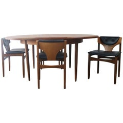 1970s Midcentury G Plan Extending Dining Table and Four Low Back Dining Chairs
