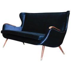 Italian Modern Velvet Petrol Sofa, Italy, 1960s