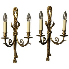 French 19th Century Pair of Gilded Bronze Antique Wall Lights
