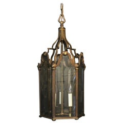 French Large Bronze Triple-Light Antique Lantern