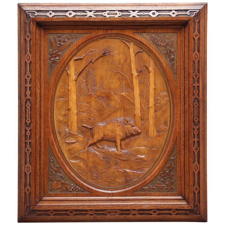Early 20th Century Swiss Carved Oak Panel