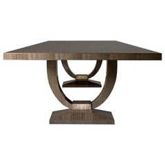 Katya Dining Table in High Gloss Silvered Fiddleback Eucalyptus