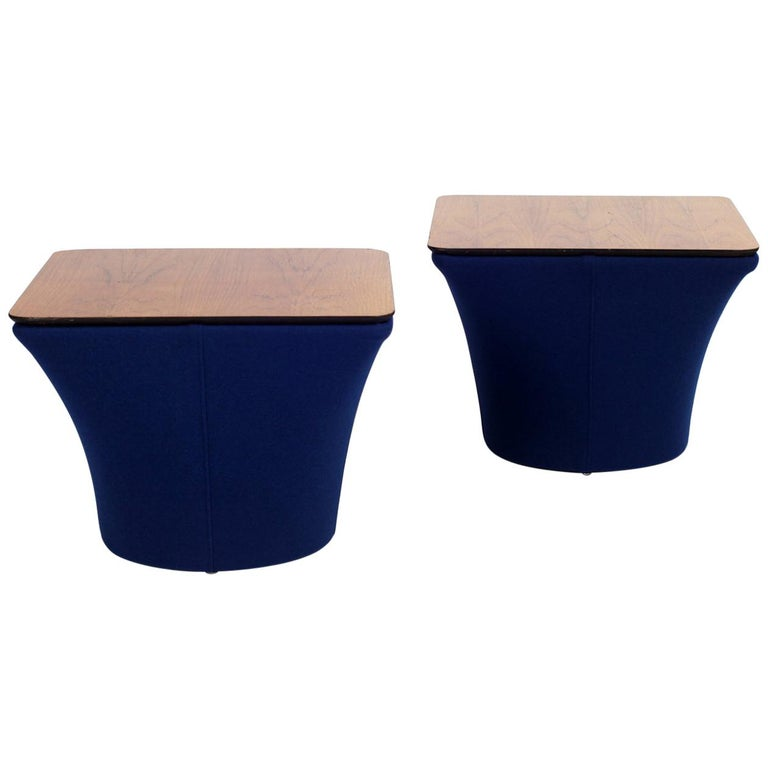 Mid-Century Rosewood and Kvadrat Side Tables, 1960s, Set of Two