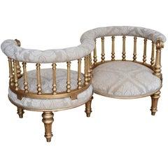 19th Century Victorian Giltwood Conversation Seat