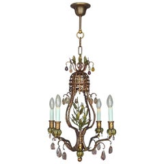 Antique Floral Leaf Chandelier Gilt Iron Faceted Crystal Glass Lobmeyr