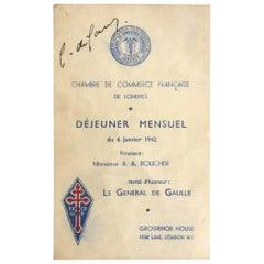 Charles De Gaulle Signed WW2 Menu