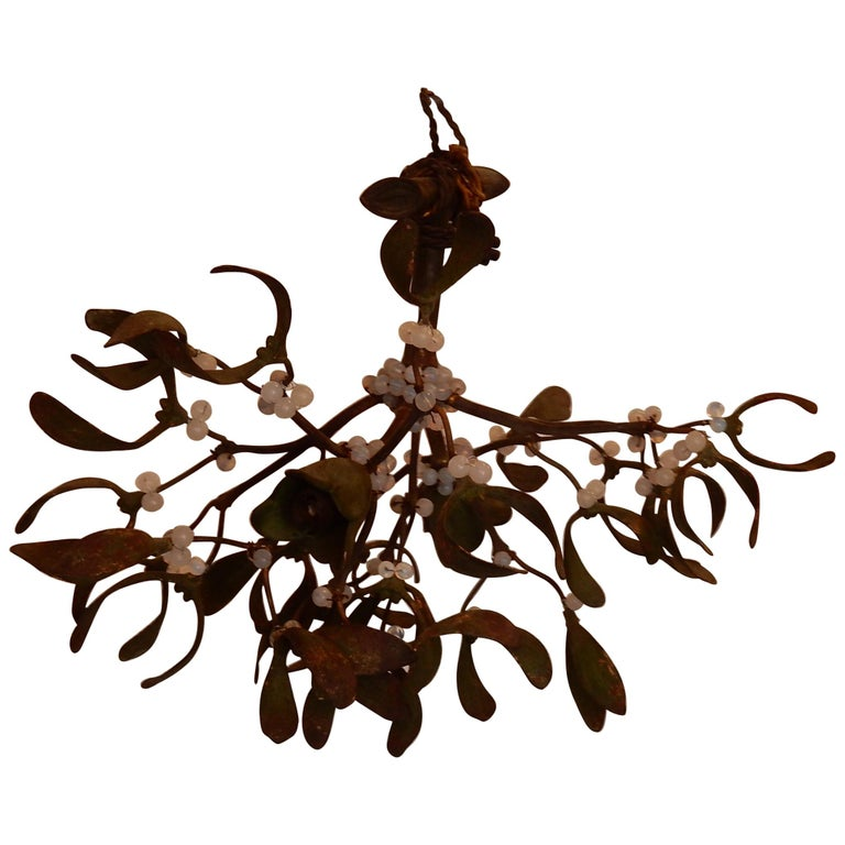 1900 Ball of Mistletoe Bronze Has Two Bulbs and Pearls Opaline For Sale
