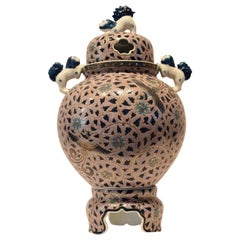 Large Japanese Gilded Lidded Three-Piece Porcelain Vase by Master Artist, Gray