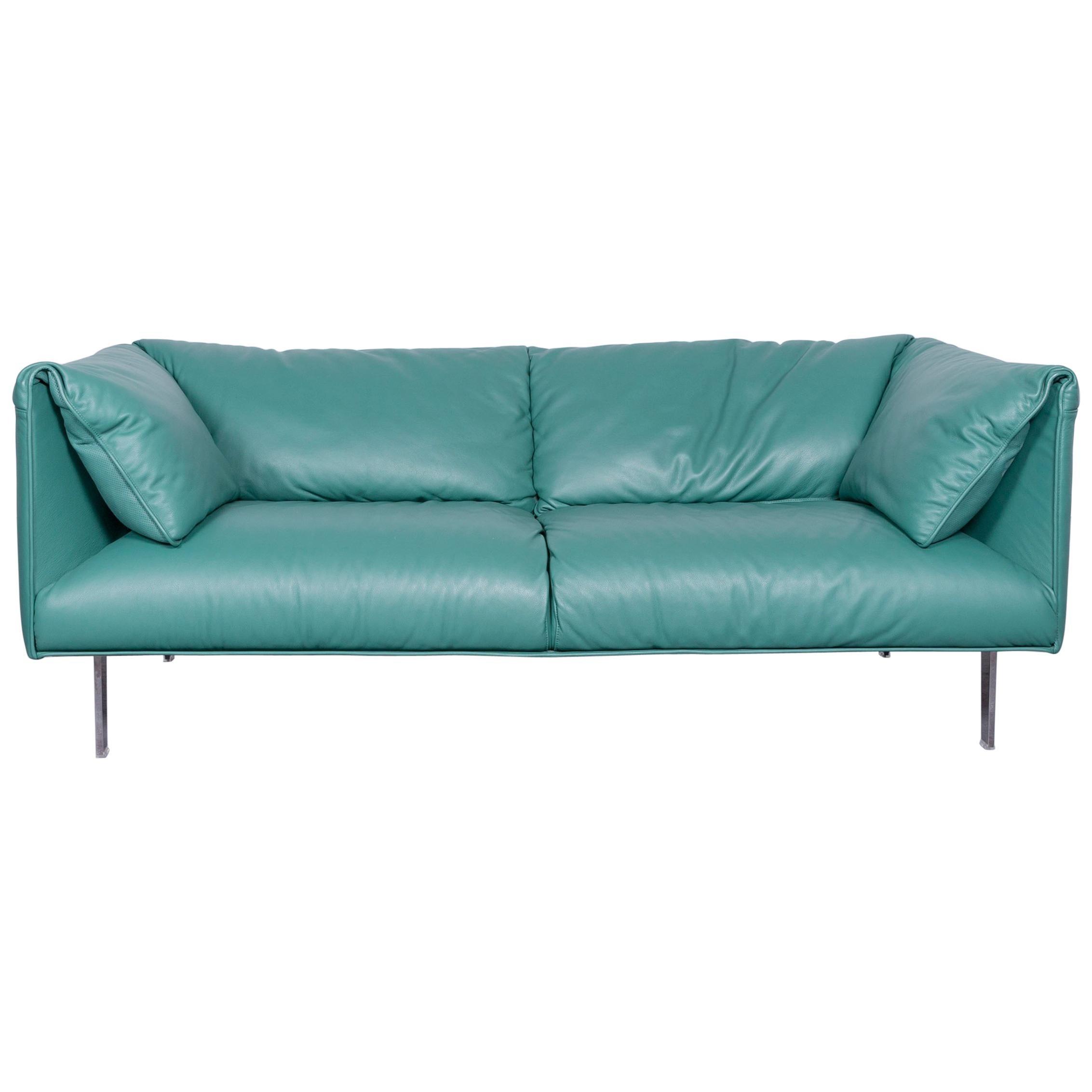 Poltrona Frau John John Designer Leather Sofa In Mint Two Seat