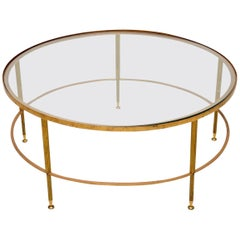 1960s French Brass and Glass Coffee Table