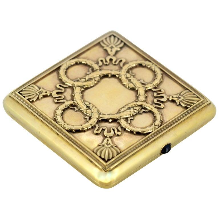 Fabergé, Antique Russian Gilded Silver Cigarette Box, 1908-1917