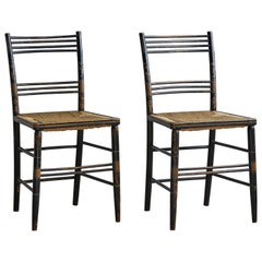 Pair of Painted Wooden Chairs with Woven Seat