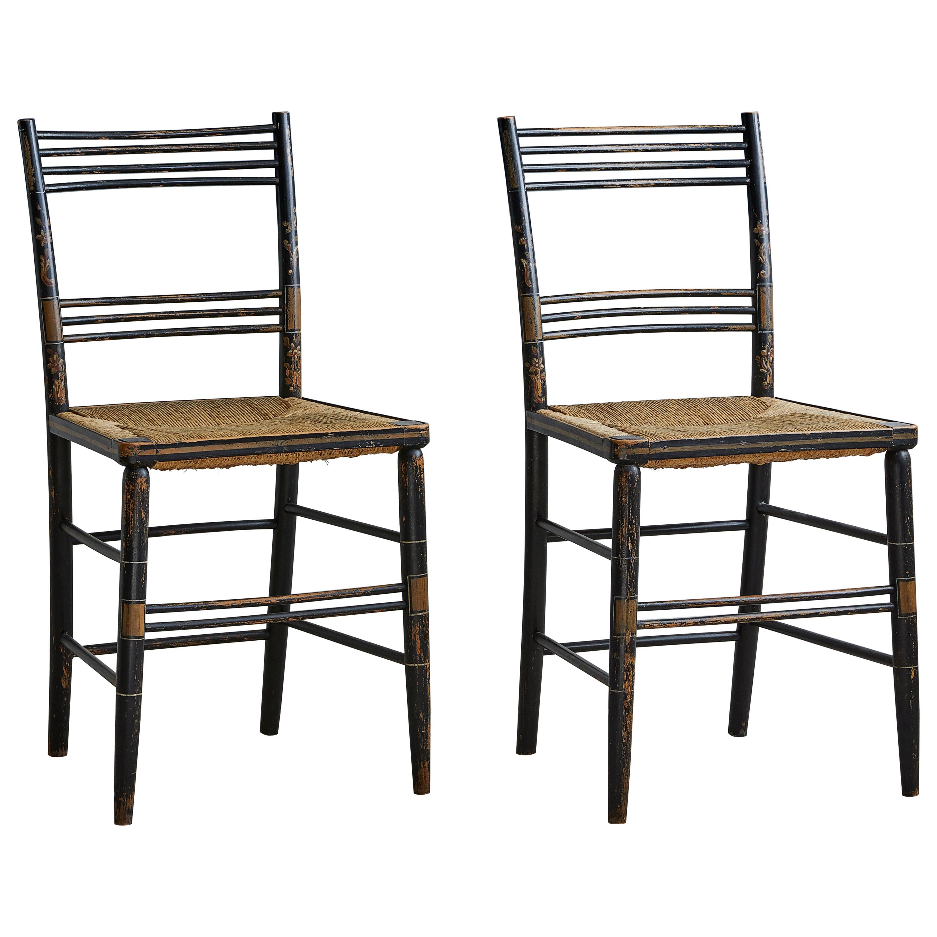 Pair Of Painted Wooden Chairs With Woven Seat For Sale