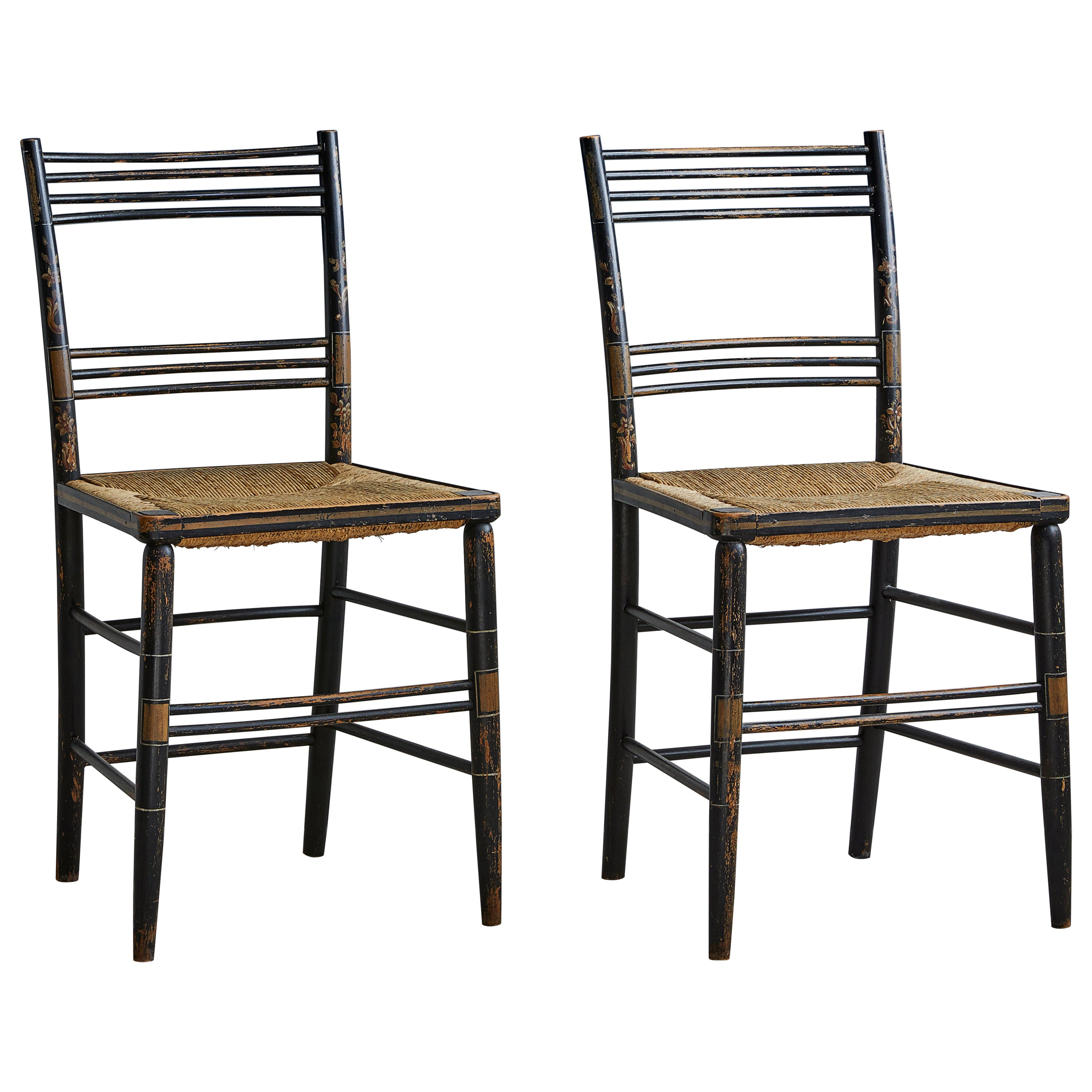 Pair Of Painted Wooden Chairs With Woven Seat At 1stdibs