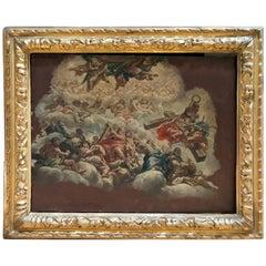 Pietro da Cortona 1630 Fresco Study, Antique Louis XIII Frame