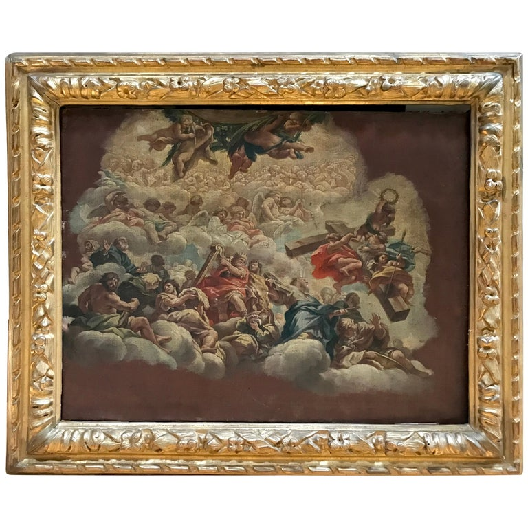 Pietro da Cortona 1630 Fresco Study, Antique Louis XIII Frame For Sale