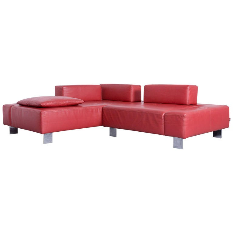 Brühl & Sippold Fields Designer Sofa Red Leather Corner Sofa with Function For Sale