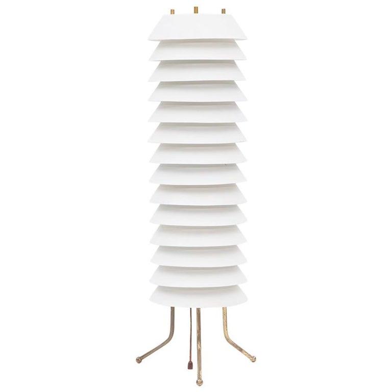 1950s White Aluminum Table Lamp by Ilmari Tapiovaara For Sale
