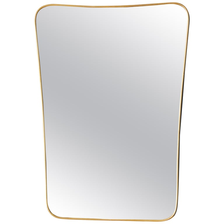 Italian 1950s Brass Wall Mirror